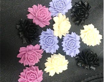 12 Resin Rose Peony Flower Flat Back Cabochons 30 mm Pink, Purple, Cream, Black
