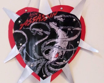 Beer Can Heart...Albino Assassin. Mexican style tin heart made from upcycled materials
