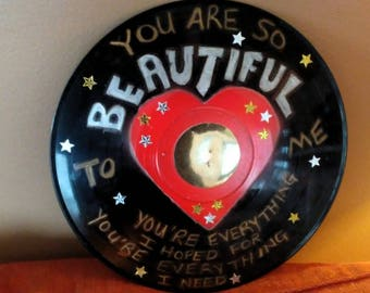 You Are So Beautiful Song Lyrics Record Album Art Made From An Upcycled LP
