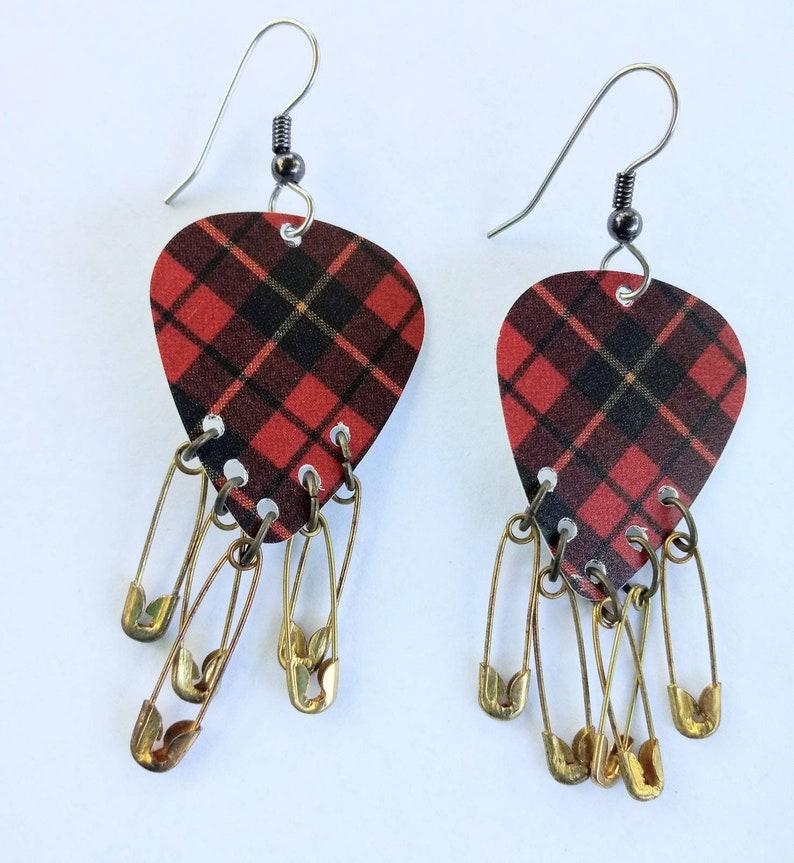 Punk Rock Plaid Safety Pin Fringe guitar pick earrings image 0