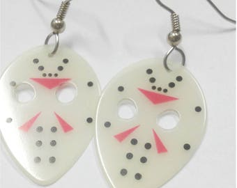 Friday the 13th Jason Vorhees Hockey Mask guitar pick earrings