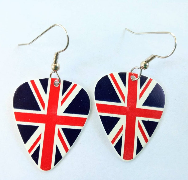 Union Jack British Flag guitar pick earrings image 0