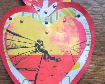 Beer Can Flaming Heart...Endless Patio. Mexican style tin heart made from upcycled materials