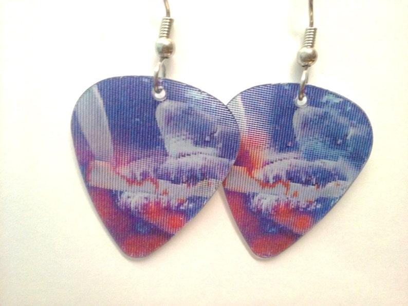 Shark Bite Holographic guitar pick earrings image 0