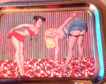 Pin Up Girls Decoupaged Decorative Silver Tray