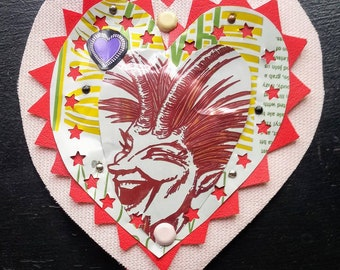 Beer Can Flaming Heart...Laughing Devil. Mexican style tin heart made from upcycled materials