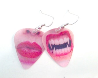 Vampire Kiss holographic lenticular guitar pick earrings