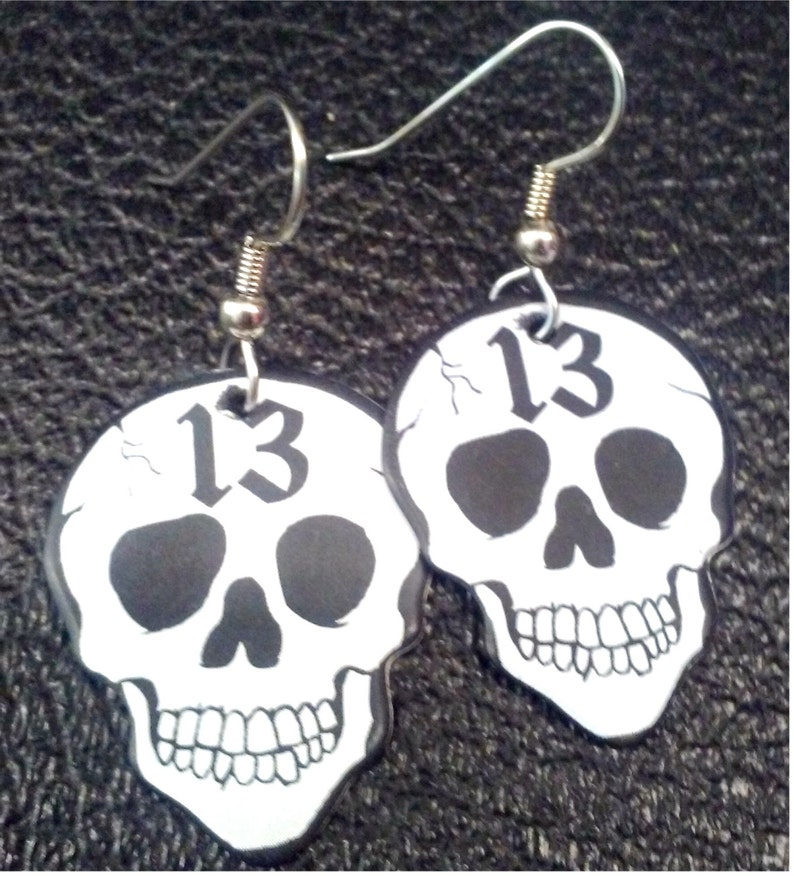 13 Skull guitar pick earrings image 0