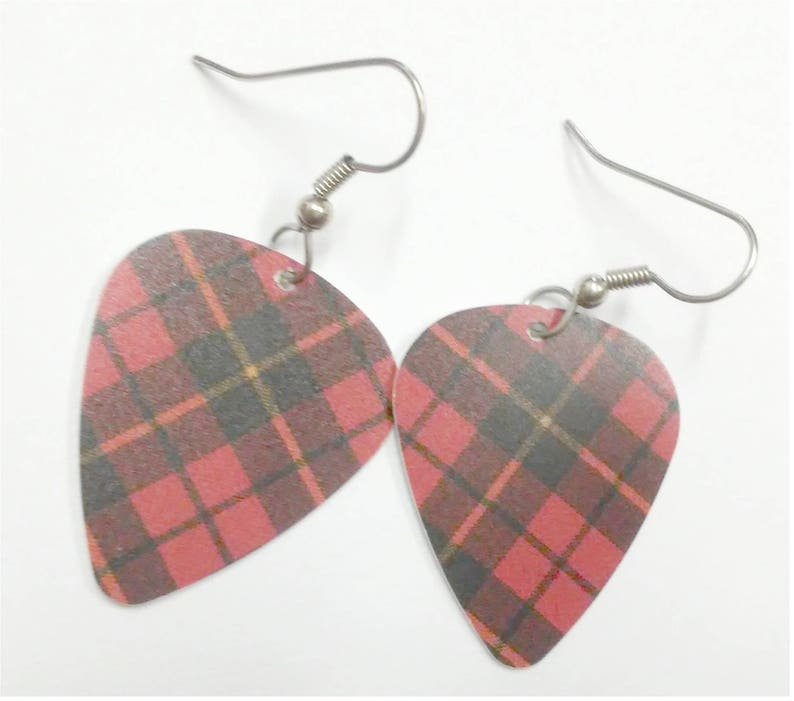 Red Plaid guitar pick earrings image 0