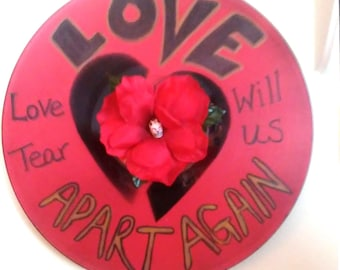 Love Will Tear Us Apart Song Lyric Anti-Love Art Made From an Upcycled Record