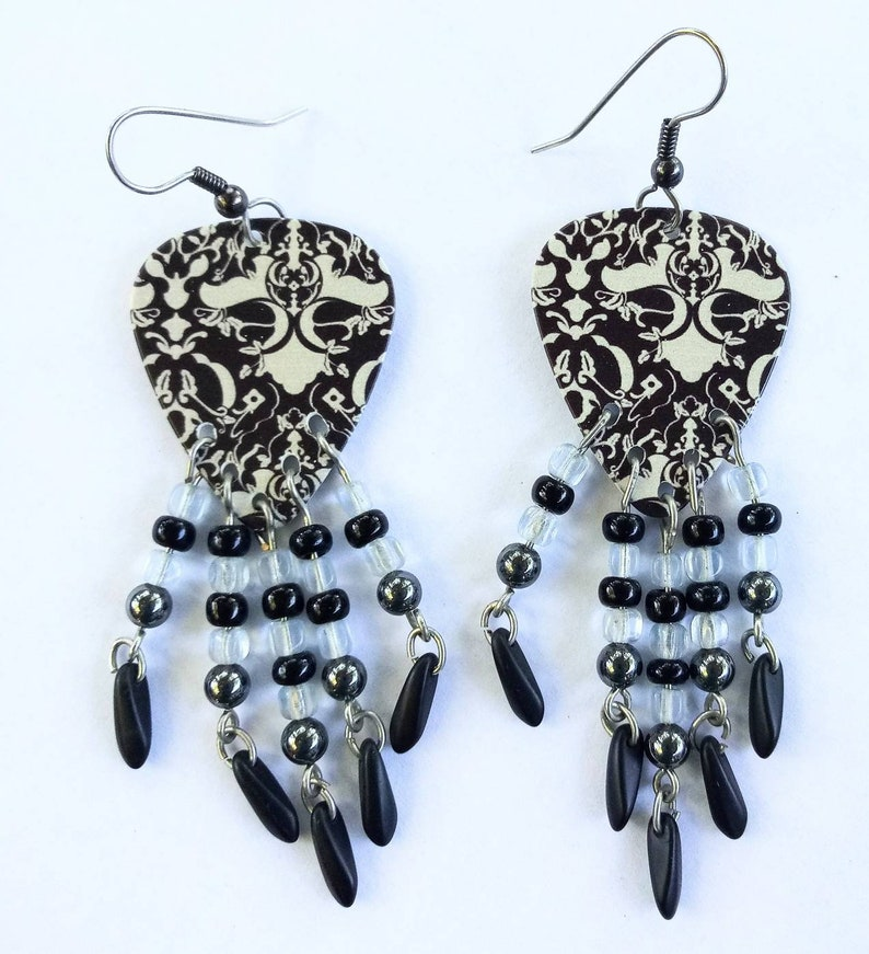 Fancy Beaded Fringey Victorian Lace guitar pick earrings image 0