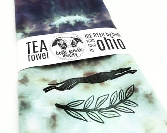 SET Ice Dyed Tea Towel & Greyhound Cookie Cutter - 100% Organic Cotton -Hand Dyed -Flour Sack Towel -Ready To Ship -Greyhound Gift  -Color H