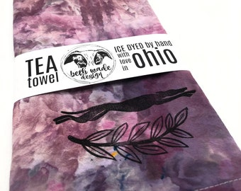 SET Ice Dyed Tea Towel & Greyhound Cookie Cutter - 100% Organic Cotton -Hand Dyed -Flour Sack Towel -Ready To Ship -Greyhound Gift  -Color F