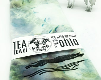SET Ice Dyed Tea Towel & Greyhound Cookie Cutter - 100% Organic Cotton -Hand Dyed -Flour Sack Towel -Ready To Ship -Greyhound Gift  -Color E