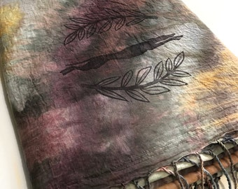 Greyhound Scarf Shawl - Ice Dyed - Block Printed -  Whippet - Italian Greyhound - Galgo - Handmade -Ready To Ship - One of a kind - A