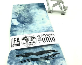 SET Ice Dyed Tea Towel & Greyhound Cookie Cutter - 100% Organic Cotton -Hand Dyed -Flour Sack Towel -Ready To Ship -Greyhound Gift  -Color J