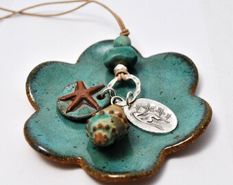 Sand and Sea Greyhound Necklace - Greyhound Jewelry - Greyhound - Galgo - Whippet - Italian Greyhound - Starfish - Silver- Ceramic - Leather