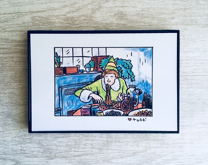 "Elf - Spaghetti, Print 4"" x 6"", movies, holiday, Christmas movies, Will Ferrell, Pop Culture"