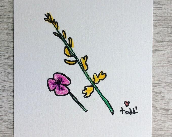 Two Flowers, art, drawing, crayon drawing, original artwork