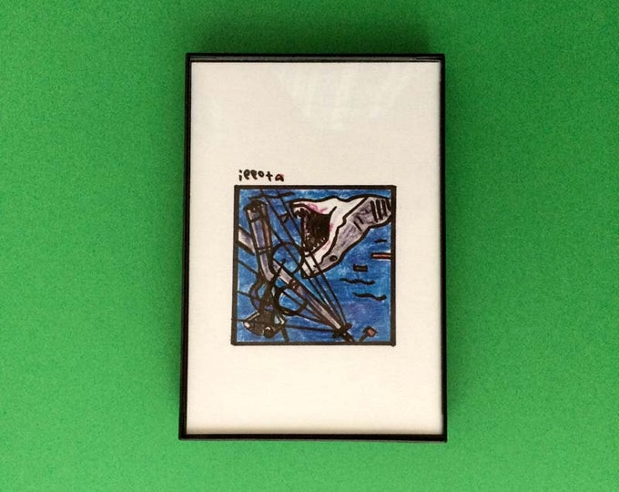 Art, Jaws, Print, 4 x 6 inches, Steven Spielberg, movies, film geek, shark, horror, wall decor, gift idea, cult cinema, great white, monster