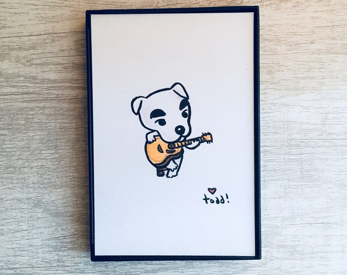Animal Crossing, KK Slider, 4x6 inch print, Video Game, Crayon Drawing, Gift, Gamer, Pop Culture, Wall Decor, Dog, Music, Nintendo