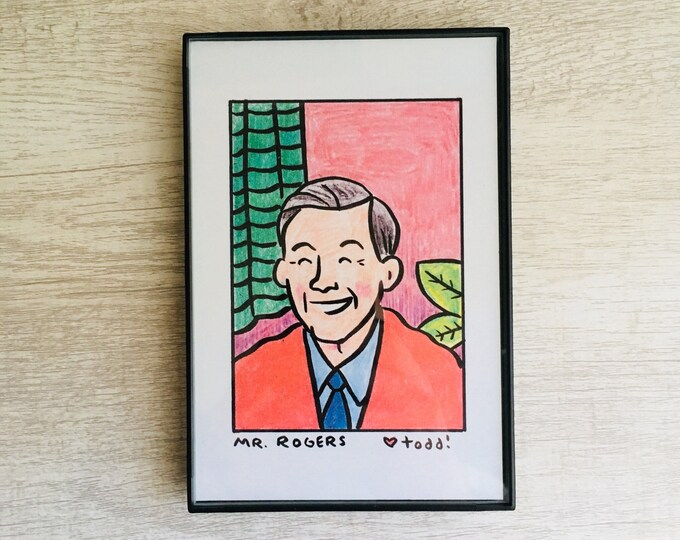 Mister Rogers, Print, 4 x 6, Portrait, Art, Wall, Crayon, TV, Gift, Fred Rogers, Pop Culture