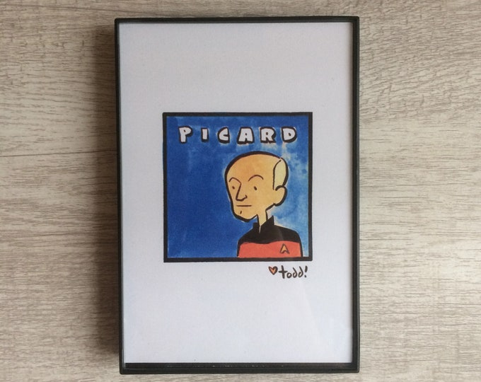 Jean-Luc PICARD - Print, 4 x 6 inches, TV, movies, film geek, framed artwork, wall decor, art, Star Trek, STTNG