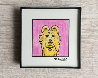 """Isle of Dogs - Nutmeg, Original Drawing, 4"""" x 4"""", TV, Wes Anderson, Movies, Pop Culture, ink and crayon"""