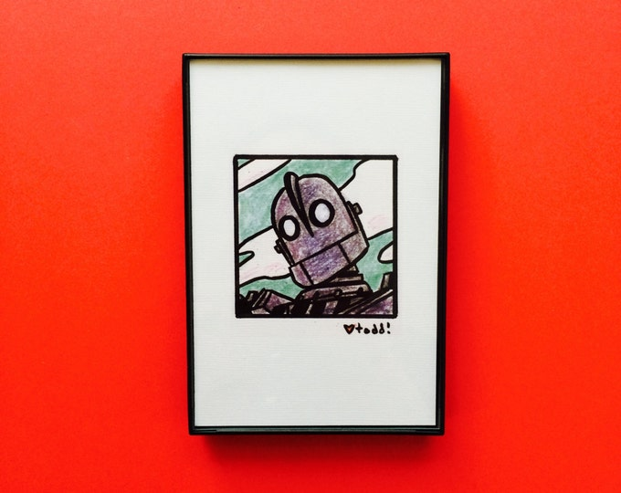 Art, The Iron Giant, Print, 4 x 4 inches, movies, film geek, Robot, Vin Diesel, framed artwork, illustration, wall decor