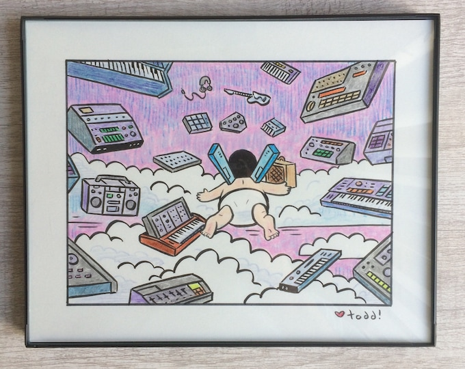 "Bob's Burgers - Gear Heaven, Original Drawing, 8"" x 10"", Art, Pop Culture, Ink and Crayon, Wall Decor, Toddbot, Gene Belcher, TV"