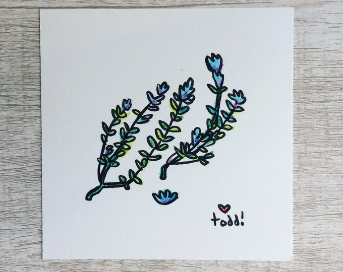 Pressed Flowers, art, drawing, crayon drawing, original artwork
