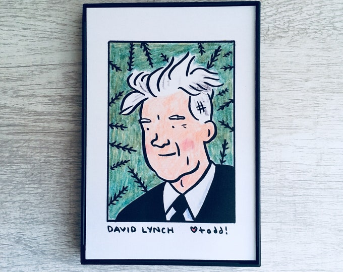 David Lynch - Print, 4 x 6 inches, Portrait, movies, film geek, framed artwork, wall decor, art, Twin Peaks