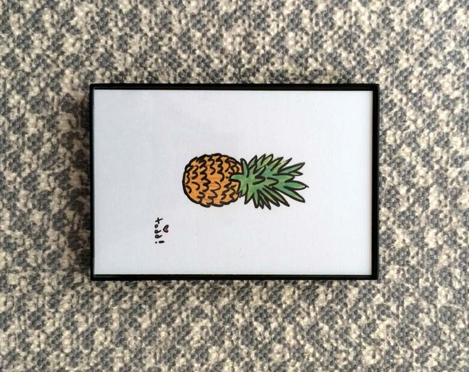 Art, Print, Pineaple, 4x6 inches, pineapple, framed artwork, wall decor, fruit, tropical, ink and crayon, original drawing, summer, yellow