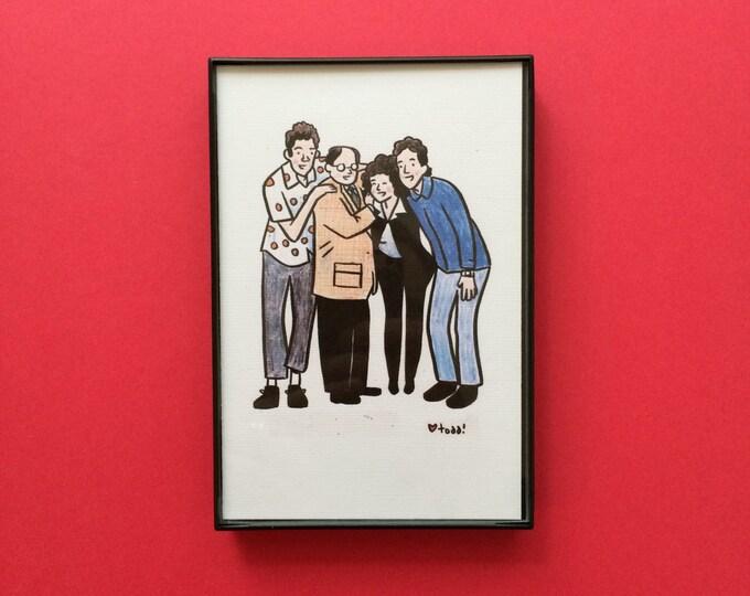 Seinfeld, 4 x 6 inch Print, Crayon Drawing, Illustration, Jerry Seinfeld, Kramer, George, Elaine, Pop Culture, Wall Decor, TV
