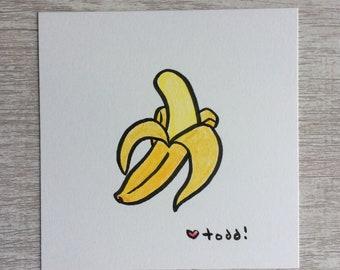 Banana - peeled, art, drawing, crayon drawing, original artwork