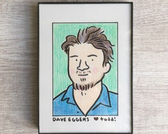 """Portrait - Dave Eggers, Original Drawing, 5"""" x 7"""", Author, Artist, McSweeney's, Pop Culture, ink and crayon"""