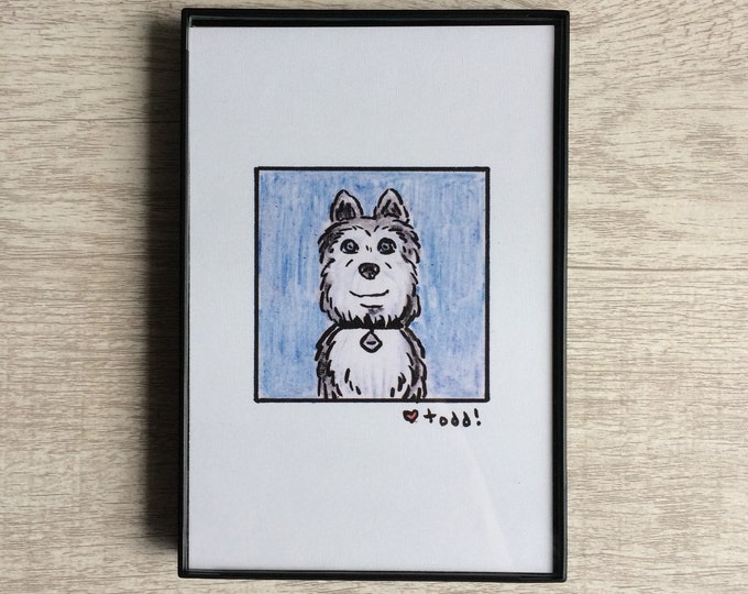 Isle of Dogs - Duke, Print, 4 x 6 inches, Wes Anderson, movies, film geek, framed artwork, wall decor, art, Jeff Goldblum