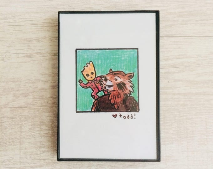 Guardians of the Galaxy Vol 2, 4 x 6 inch Print, Baby Groot, Rocket Raccoon, Art, Crayon Drawing, Movies, Pop Culture, Wall Decor