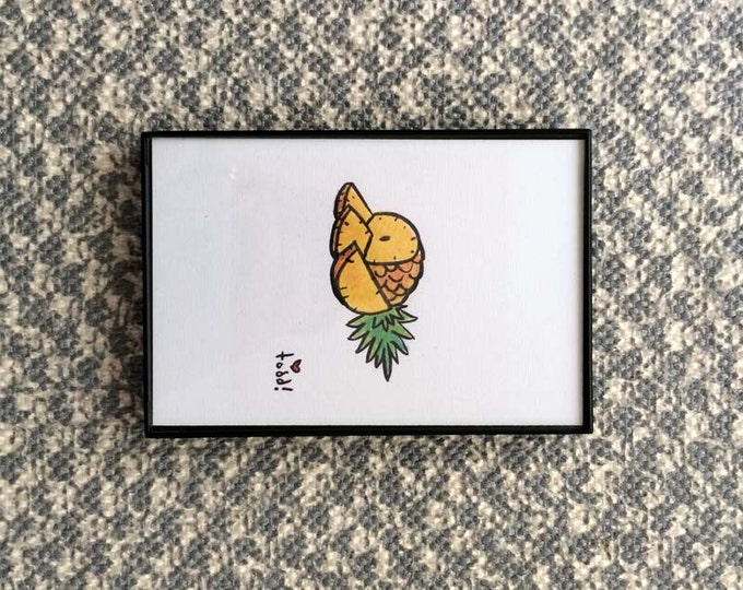 Art, Print, Sliced Pineaple, 4x6 inches, pineapple, framed artwork, wall decor, fruit, tropical, ink and crayon, original drawing, summer