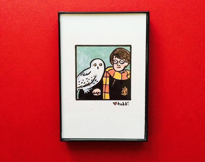 Art, Harry Potter, Print, 4 x 6 inches, Daniel Radcliff, J.K. Rowling, movies, film geek, wizard, framed artwork, illustration, wall decor