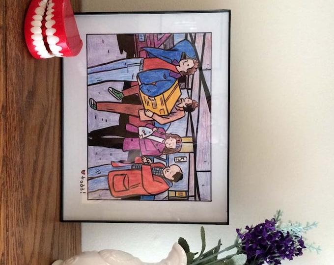 Seinfeld, 8 x 10 inch Print, Parking Garage, Crayon Drawing, Illustration, Jerry Seinfeld, Kramer, George, Elaine, Pop Culture, Wall Decor,