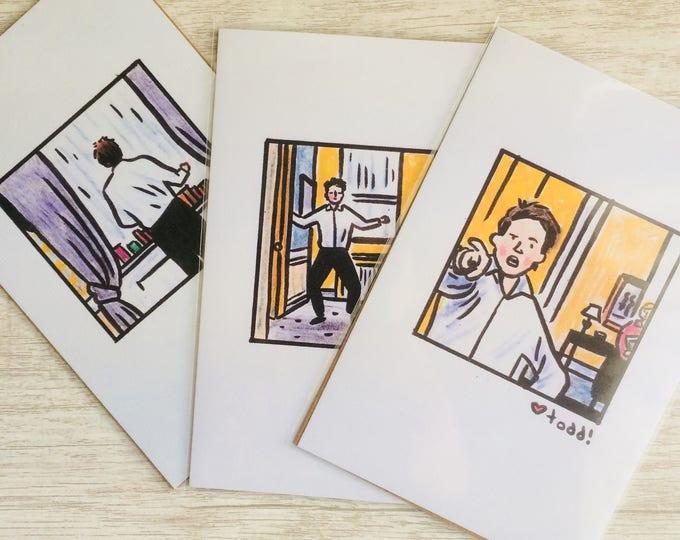 Love Actually Print Set, 4 x 6 inches, Art, Movies, Illustration, Wall Decor, Hugh Grant, dance scene