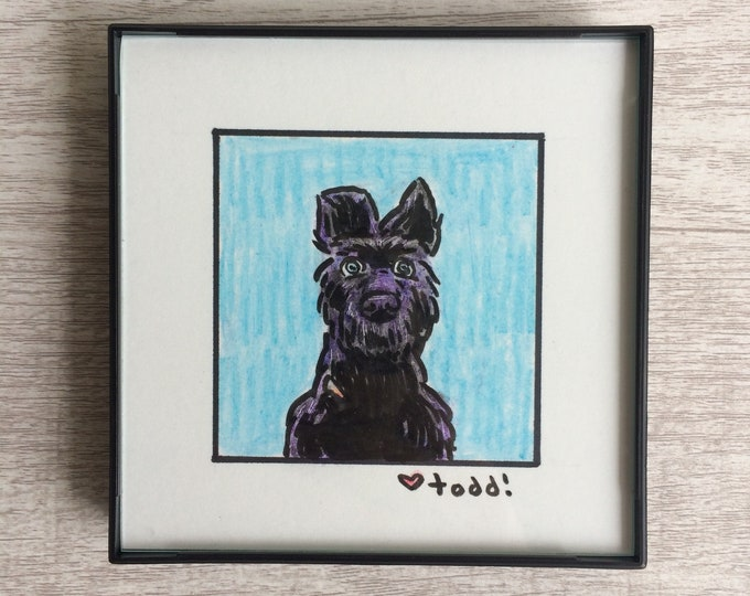 "Isle of Dogs - Chief, Original Drawing, 4"" x 4"", TV, Wes Anderson, Movies, Pop Culture, ink and crayon"