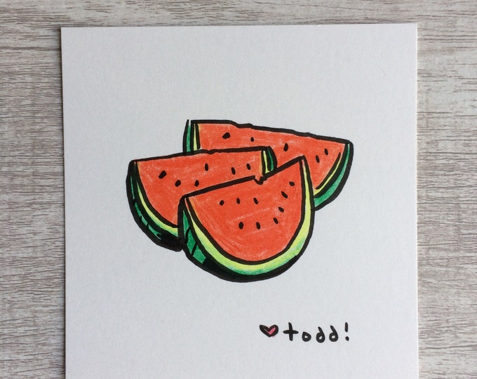 Watermelon Slices, art, drawing, crayon drawing, original artwork