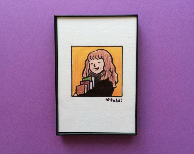 Art, Harry Potter, 4 x 6 inch Print, Hermione Granger, Art, J.K. Rowling, Crayon Drawing, Movies, Pop Culture, Wall Decor, Emma Watson