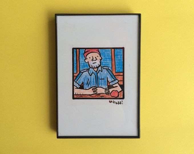 The Life Aquatic With Steve Zissou, Wes Anderson, Art, Print, 4 x 6 inches, movies, Bill Murray, framed artwork, illustration, wall decor