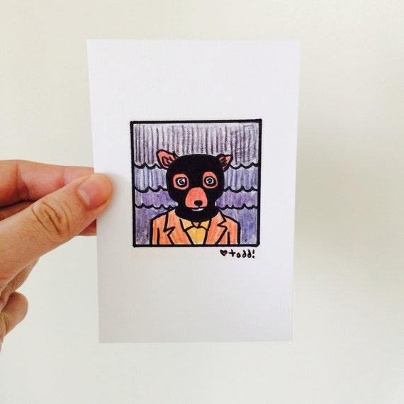 Art Fantastic Mr Fox Crazy Eyes Print 4 X 6 Inches Wes Etsy