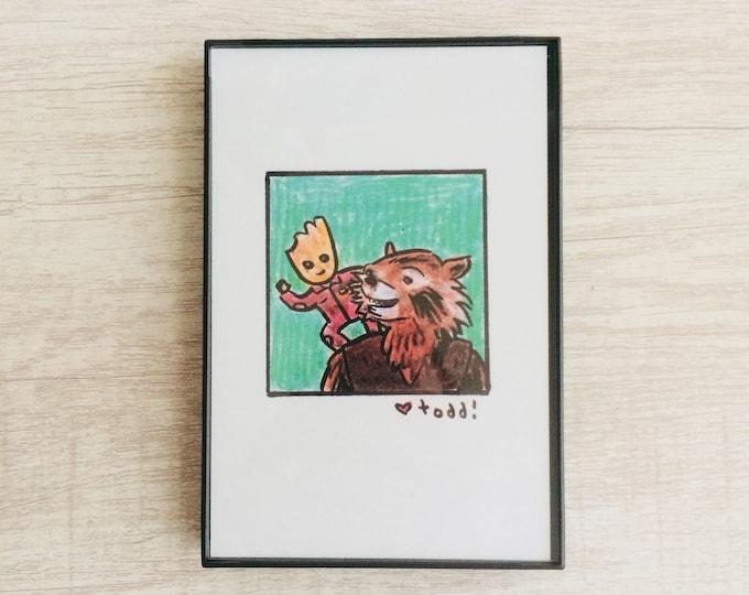 Guardians of the Galaxy Vol 2, 4 x 6 inch Print, Baby Groot, Rocket Raccoon, Art, Crayon Drawing, Movies, Pop Culture, Wall Decor
