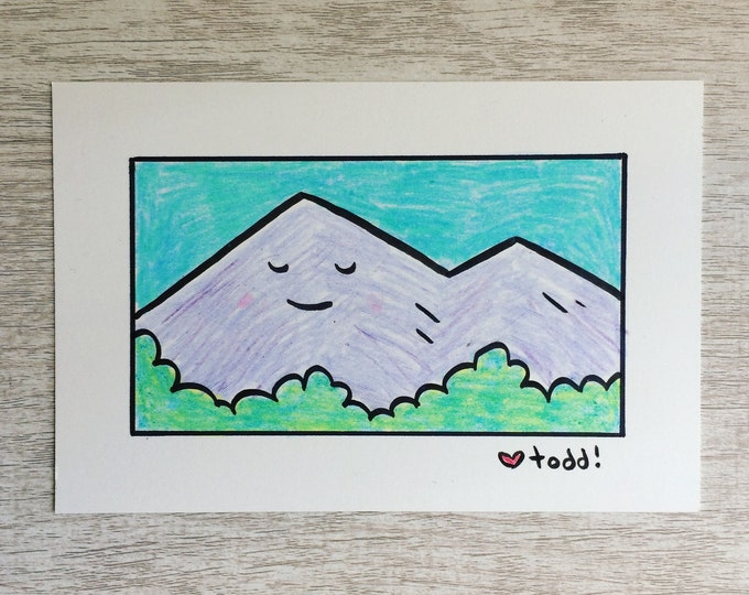Zen Mountain, art, drawing, crayon drawing, original artwork