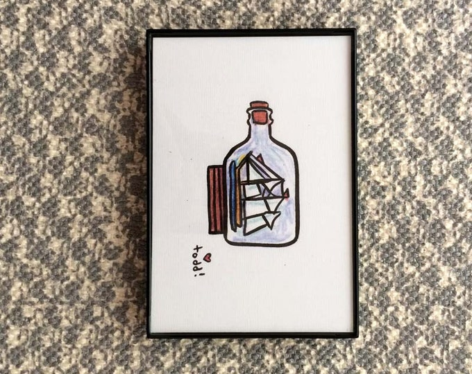 Art, Print, Ship in a Bottle, 4x6 inches, nautical, framed artwork, wall decor, ship, boat, hobbies, ink and crayon, original drawing, jar